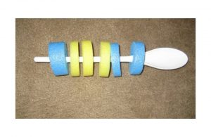 Wooden spoon with pool noodle beads
