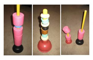 Example of a pool ring stacker